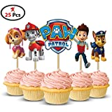 Party Propz™ Paw Patrol Cup Cake Topper Set Of 25 Pieces / Paw Patrol Birthday Party Supplies / Paw Patrol Birthday...