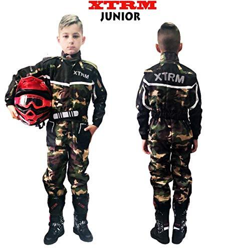 TUTA MOTO BAMBINO XTRM Nuovi Tuta da Kart Per Bambini Moto QUAD PITBIKE Dirt Bike ATV Scooter Tuta da Corsa Motocicletta Go-Kart Motocross da bambini MX Suit, Multicolori (Camo Verde, M)