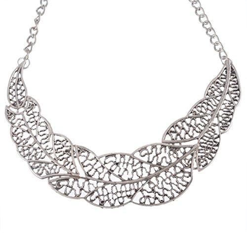 MJARTORIA-Damen-Vintage-Statement-Necklace-Halskette-Filigran-Blatt-klobige-Kette-Retro-Modeschmuck