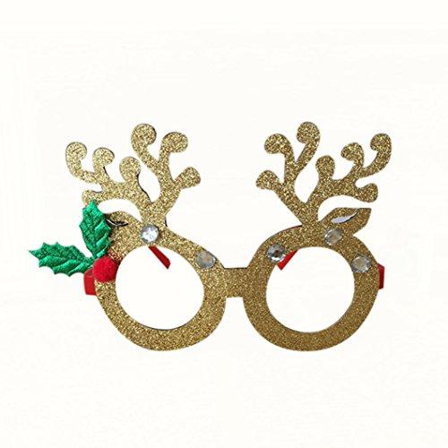 HKFV Weihnachtsschmuck Gläser Rahmen Decor Abend Party Spielzeug kinder Geschenke Weihnachtsdekoration Brille Rahmen Weihnachten Brillengestell Brille HKFV (Gold)