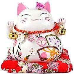 Maneki Neko - afortunado japonés del gato de porcelana con dos campanas - de alta calidad, porcelana muy ornamentado, como una alcancía y encanto afortunado (pequeño (12 cm))