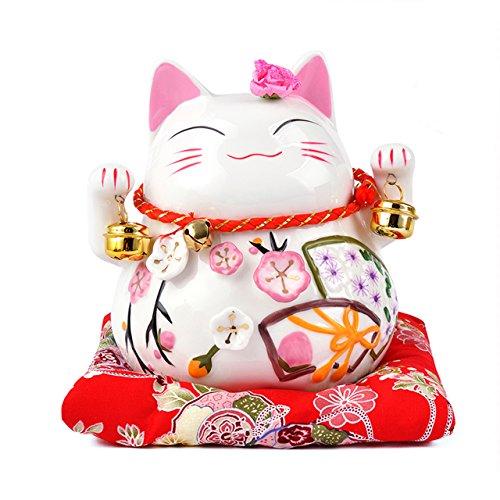 Maneki Neko - afortunado japones del gato de porcelana con dos campanas - de alta calidad, porcelana muy ornamentado, como una alcancia y encanto afortunado (pequeno (12 cm))