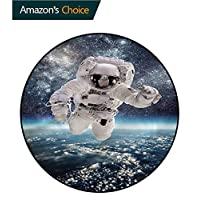 RUGSMAT Space Round Area Rug,Magical Solar Eclipse Nursery Rugs
