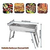 cerchio barbecue à charbon de bois portbale - barbecue pliable en acier inoxydable - kit d'outils