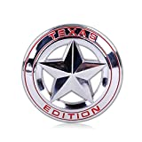#8: Automaze Jeep Texas Star Edition 4X4 Round Logo Stickers For Car | Metal Sticker, Chrome Color, Universal | Car Exterior Jeep Thar SUV Accessories