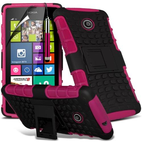 ( Orange ) Nokia Lumia 630 Hülle Abdeckung Cover Case Premium Fitted schutzhülle Tasche PU-Leder-Schlag mit 3 Kredit- / Bank-Karten-Slot-Kasten-Haut-Abdeckung mit LCD-Display Schutzfolie, Poliertuch u Shock Proof + Stylus ( Hot Pink )