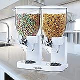 Ryori - Dispenser da cucina per cerali e alimenti secchi, con contenitori ermetici in plastica trasparente, ottimi per il controllo delle porzioni e per mantenere i cibi freschi, White, Doppio