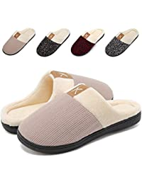 6b15bd123721 VIFUUR Women s Winter Memory Foam Slippers Short Plush Lining Anti-Skid  Sole Slip On House Shoes Indoor…