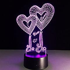 Idea Regalo - LEDMOMO 3D illusione lampada optical illusion da scrivania 7 cambiamento di colore di tocco LED luce notturna (Cuori Amore)
