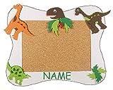 Unbekannt Bastelset Pinnwand Kork incl. NAME - Dinosaurier Dino - Korkplatte mit 6 Pins - Wandtafel Pinboard für Kinder Jungen Dinos Urzeit Tiere