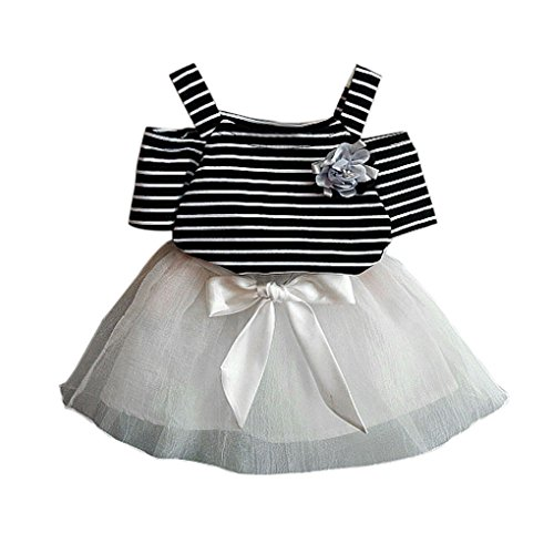 JYJM Fashion Toddler Baby Kids Girls Outfits Clothes Floral T-shirt+Bowknot Short Skirt Set Striped top shirt suit set head tutu miniskirt Dress for girl 3-7 years old (120, Schwarz) Striped Set