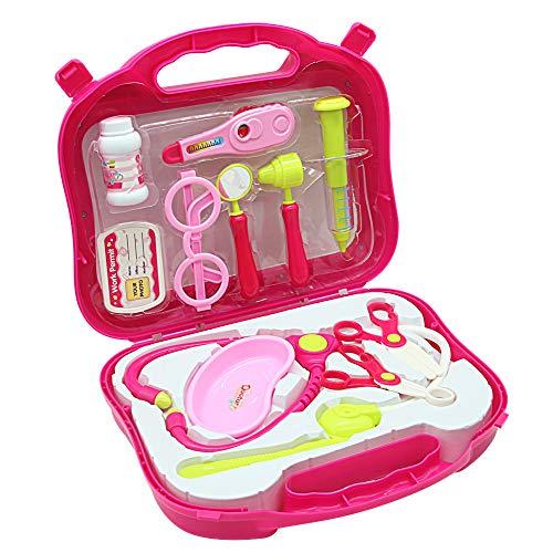 Arztkoffer Kinder mit Krankenschwester Zubehör Arzt Rollenspiele Rosa Geschenk Arztkoffer Spielzeug für Kinder über 3 Jahre Alt (12 Teilige) (Mehrweg) (Spielzeug Altes Jahre Drei)