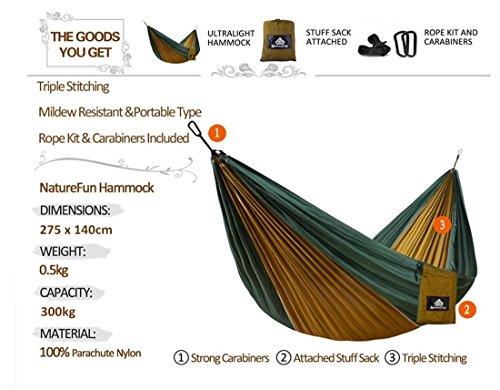 NatureFun Tragbare 300*140cm Ultra-Leichte 100% Fallschirm-Nylon Reise Camping Hängematte für Backpacker - 2