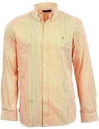 Chemise Ralph Lauren � manches longues Oxford pour homme en orange et blanc