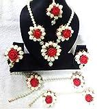 #10: Floral Jewellery Silver Pearl Mogra Red Flower Jewellery Set with Earrings, Maang Tika & Bracelets for Women