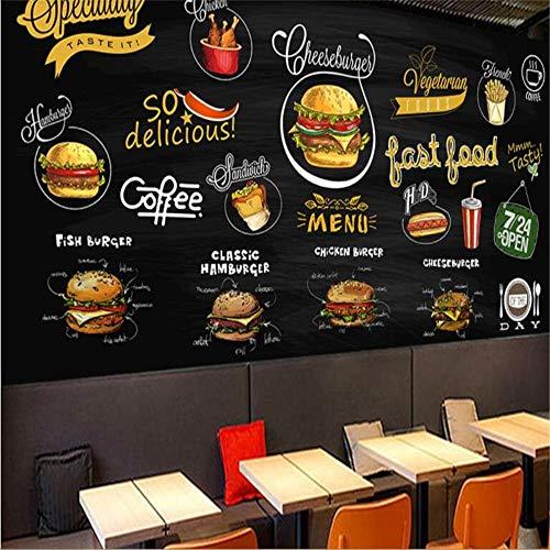 Preisvergleich Produktbild XZDXR Hd-Tapete Handgemalte Tafel Burger Pizza Restaurant Hintergrundbild Wand Verhalten Dekorative Malerei,  350X256 cm