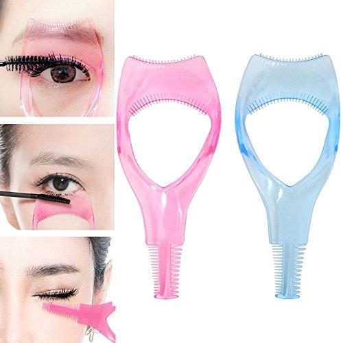 2x Demarkt Wimpern Schablone 3 In 1 Mascara Applikator Make Up Wimpern Werkzeug Leitfaden Werkzeug Applikator Guide mit Wimper Kamm für Frauen Blau Rosa -