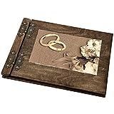 Album fotografico in legno con immagine di due anelli con fiori, 25 fogli interni neri