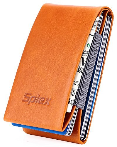 e7553a252a4a Spiex Slim Wallet RFID Blocking Small Front Pocket Wallet Credit Card  Holder - Brown -