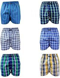 6 er Pack CITYLIFE Herren Webboxer Boxershorts grün blau gelb weiss