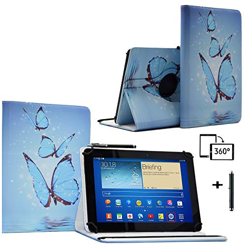 Schutzhülle für 25,7 cm (10,1 Zoll) Tablet-PC Blaupunkt Endeavour 101G (Leder, Standfunktion, 360 ° drehbar), Schmetterlingsmotiv