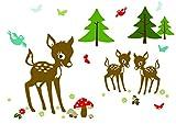 anna wand Wandsticker REHNATE & FRIENDS - Wandtattoo für Kinderzimmer/Babyzimmer mit Reh & Waldtieren in versch. Farben - Wandaufkleber Schlafzimmer Mädchen & Junge, Wanddeko Baby/Kinder