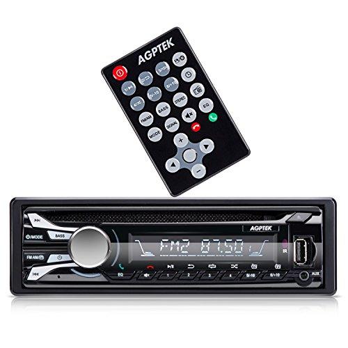 AGPTEK SKY03 AutoRadio Bluetooth CD FM/AM Bluetooth Recepteur kit main libre Stéréo, Lecteur Musical avec USB/SD Port, telecommode et Fonction FM Radio, Noir