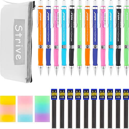 Chinco Schule Bleistift Beutel Set Beinhaltet 12 Stücke Druckbleistift, 12 Stücke Bleistiftmine HB 0.5 mm Nachfüllung, 3 Stücke Radiergummi, Bleistiftbeutel