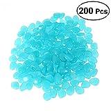 OUNONA 200 stücke Leuchtsteine, leuchtende Kiesel fluoreszierende Steine für Aquarium Ggarten Hof Dekorationen (blau)