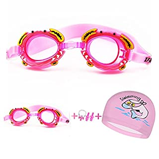 Shengchu Kids Swim Goggles Cartoon-Style Swimming Goggle Set Swimming Cap with Free Nose Clips and Ear Plugs for Kids, Children, Students, Boys & Girls (Pink)