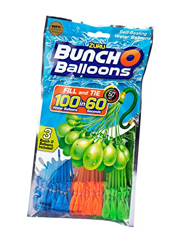 Zuru 1213 - Bunch o Balloons, 100 Wasserbomben in 60 Sekunden, selbst verschließend ohne Knoten, 3 Bündel mit je 35 Wasserbomben