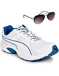 Puma Aiko White & Blue Sports Shoe With TNF Men 100% UV Sunglasses SIZE UK 8