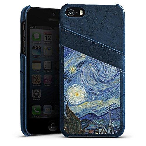 Apple iPhone 5s Housse Étui Protection Coque Vincent van Gogh La Nuit étoilée Art Étui en cuir bleu marine