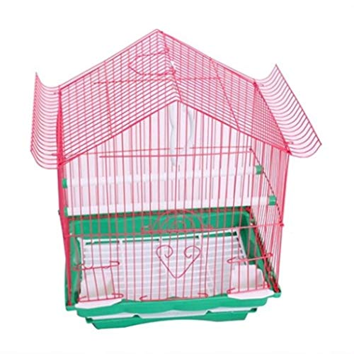 Kleine Modell Vogelkäfig Drahtkäfig Tiger Haut Pfingstrose Papagei Vogelkäfig Haustier Vogelkäfig Universal Vogelkäfig Zuchtkäfig (Color : Pink)