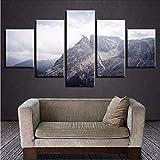 Gwgdjk Moderne Poster Wohnzimmer Wandkunst Hd Decor 5 Stücke Berg Weiße Wolke Bilder Naturlandschaft Leinwand Malerei Modular-10X15/20/25Cm,With Frame