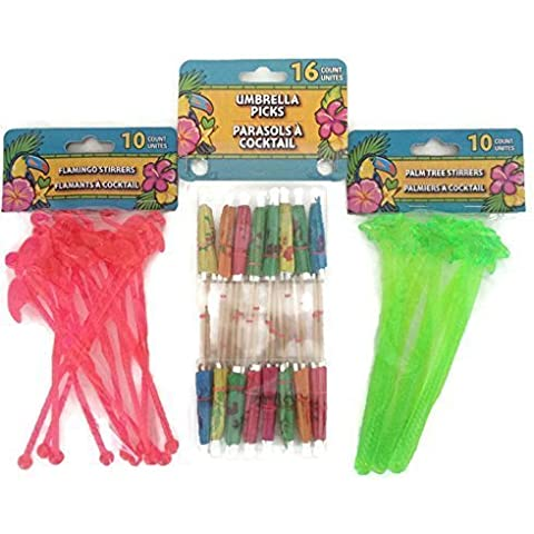 Tropical Luau Themed Swizzle Stick Party Bundle- 3 Items: One Pack Umbrella Picks, One Pack Palm Tree Stirrers and Flamingo Stirrers by Greenbrier
