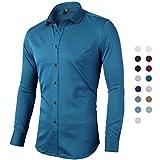 INFLATION Herren Hemd Langarm Bügelleicht für Freizeit Business Hochzeit Businesshemd Freizeithemd Men's Shirt Bambusfaser Einfarbig Slim Fit EU 39 Grünblau