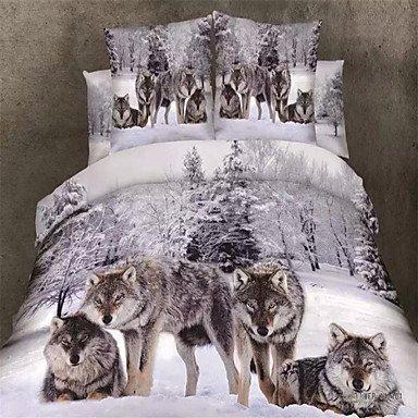AIURLIFE 3D canvas 100% algodón, ropa de cama set Queen 4 piezas set edredón , king