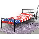EGGREE Single Metal Platform Bed Frame with Headboard for Children Adults, Black
