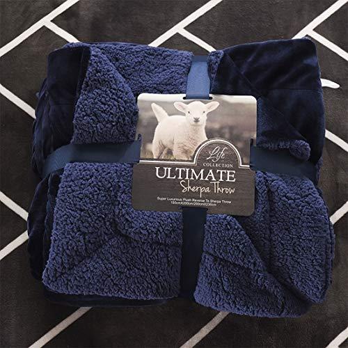 Hemotrade Winter Flanelle Lämmer Coral Blankets Decken Doppelte Decken (Color : Blue, Size : Queen) -