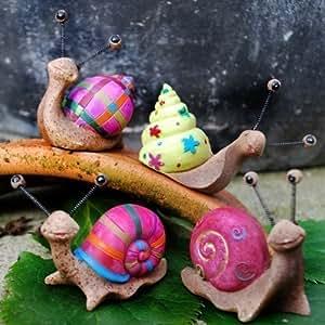 Ensemble de 4 escargots de jardin en r sine de couleurs for Decoration escargot exterieur