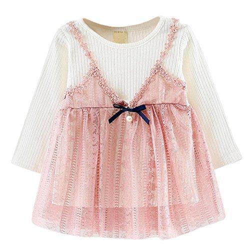 Kobay Niedlich Kleinkind Baby Mädchen Floral Tutu Lange Ärmel Prinzessin Kleid (8/1Jahr, Rosa-2)