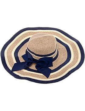 Vbiger Sombrero Derby Ala Ancha Sombrero Bowknot Rayas Mezclas Mar Playa Visera (Azul)