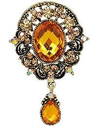 YAZILIND exquisita retro diamantes de imitacion de aleacion de oro antiguo zirconia colgante broche ramillete mujeres ninas accesorios