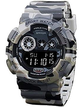 TOPCABIN 30m Wasserproof - Digitalanzeige Quarz Multi-Camouflage Uhr (grau)