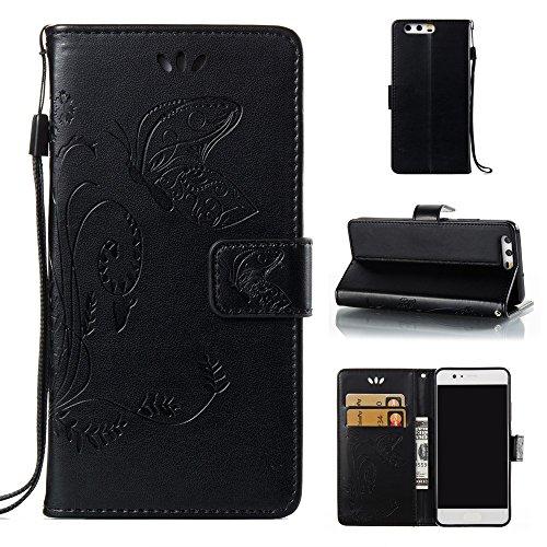 EKINHUI Case Cover Horizontale Folio Flip Stand Muster PU Leder Geldbörse Tasche Tasche mit geprägten Blumen & Lanyard & Card Slots für Huawei P10 ( Color : White ) Black