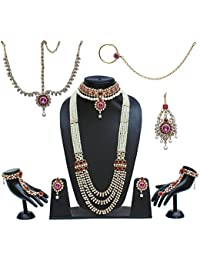 Lucky Jewellery Traditional Magenta Color Alloy Bridal Set For Women And Girls