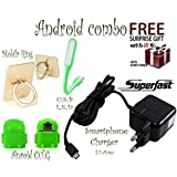 ZONGG, Super Combo Pack Of 4 Items, (1)2.1 Amp Super Fast Charger For All Andriods, (2) Otg Cable, (3)usb Led Light, (4) Mobile Ring Stand, And ( Get A Free Surprise Gift Of Worth 149 With Purchase Of This Product From ZONGG ) PATTERN 231550