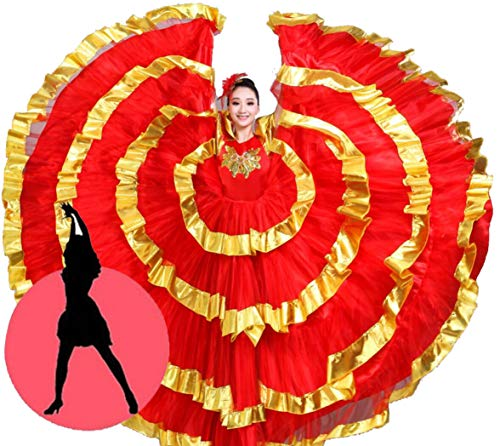 Tanz Kostüm Spanischer - ZYLL Flamenco Rock, Big Swing Rock Kostüm Kostüm spanischer Stierkampf Tanz Rock,720,L