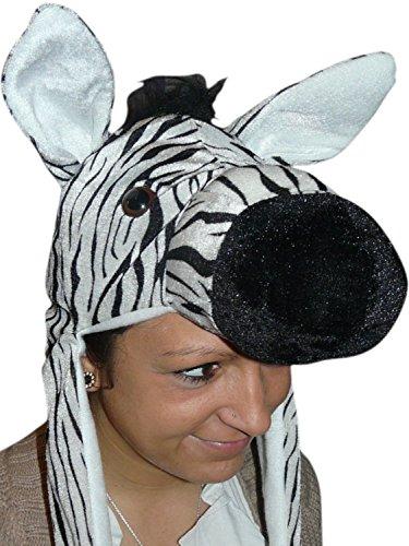 Seruna Mütze Zebra-Kostüm, F93/00, Zebra-Faschingskostüm, für Fasching Karneval Fasnacht, Karnevals-Kostüme Männer Frauen Faschings-Kostüme, Geburtstags-Geschenk, ()